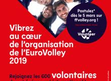 Les inscriptions pour devenir volontaire lors de l'Euro Volley 2019 commencent aujourd'hui !